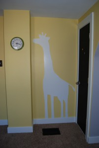 6' tall giraffe, made by a few very talented friends to match the giraffes in the bumper fabric. perfect.