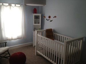 Pottery Barn crib, Land of Nod light fixture, assorted accents.