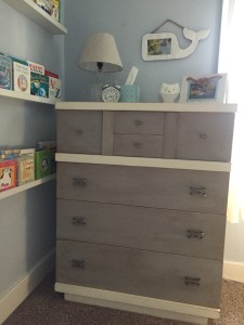 Better view of the painted dresser in gray and cream with blue undertones. I love how it pulls the color from the wall.