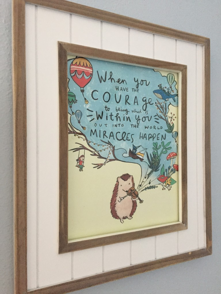 We were gifted this art print from a dear friend and it was perfect for this frame I had yet to fill. The quote is lovely, and then of course, the whale and ship make it a sweet tie in with the room ;)
