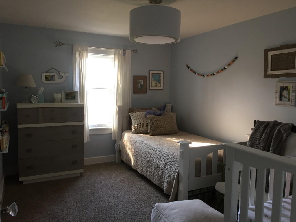 Our new nursery/guest room. I love having a twin bed in the nursery--thinking it will be great for nights when baby is up at long stretches, or if any one of the kiddos is having a rough night, since our bedroom is on a different floor.