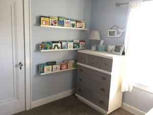 IKEA bookshelves from Eloise's nursery, and a refurbished dresser from Painted Farmgirl. This is one of my favorite finds for the room.