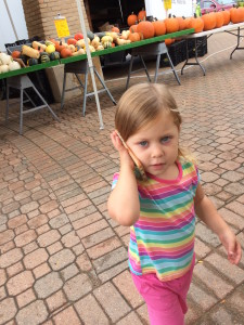 """Talking to dad on the phone like a boss. """"Wite now, punkins. Wittow ones. And peppas, and matoes...at da mahket."""""""
